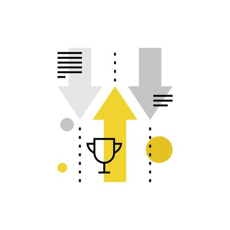 Modern vector icon of challenge opponents, business competition and progress. Premium quality vector illustration concept. Flat line icon symbol. Flat design image isolated on white background.
