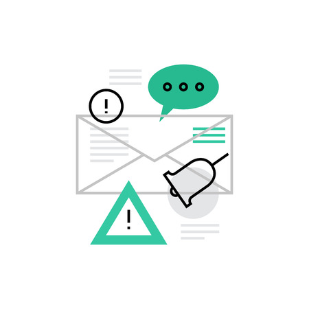 Modern vector icon of alert message, important mail and notification letter. Premium quality vector illustration concept. Flat line icon symbol. Flat design image isolated on white background.