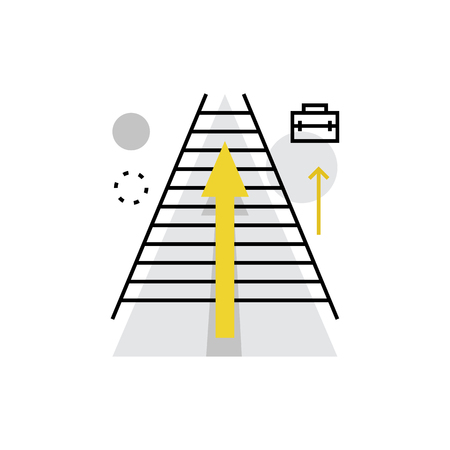 Modern vector icon of career ladder, business and corporate opportunities. Premium quality vector illustration concept. Flat line icon symbol. Flat design image isolated on white background.