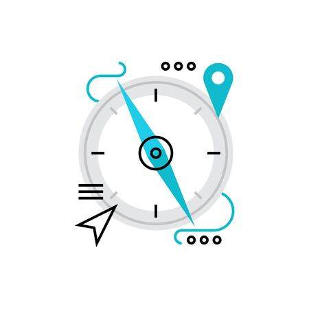 Modern vector icon of magnetic compass, navigation, orienteering and location point. Premium quality vector illustration concept. Flat line icon symbol. Flat design image isolated on white background. 版權商用圖片 - 69993505