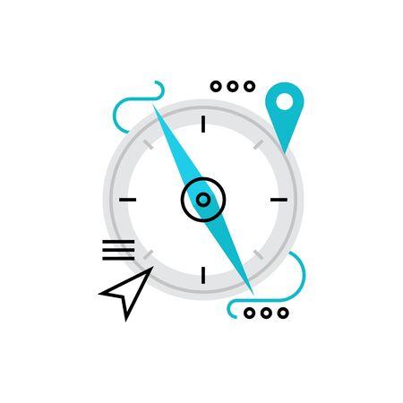 Moderno vettore icona della bussola magnetica, navigazione, orientamento e il punto di posizione. Premium qualità concetto illustrazione vettoriale. Flat Line simbolo icona. immagine design piatto isolato su sfondo bianco.