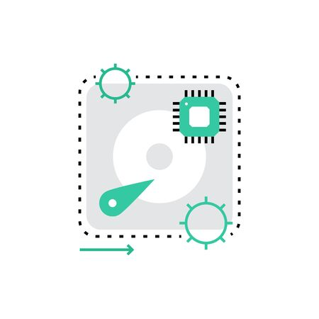 hardware store: Modern vector icon of computer hardware, recovery disc drive and system backup. Premium quality vector illustration concept. Flat line icon symbol. Flat design image isolated on white background.