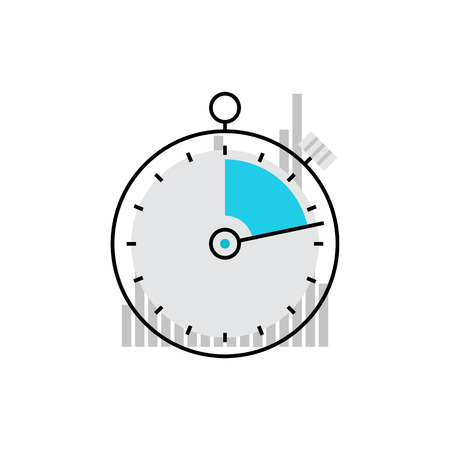 start button: Modern vector icon of stopwatch interface, coach timer and time measurement. Premium quality vector illustration concept. Flat line icon symbol. Flat design image isolated on white background. Illustration
