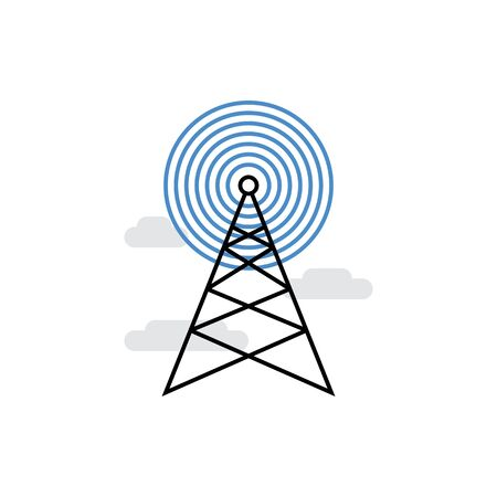 Modern vector icon of signal broadcasting, radio transmitting and wireless antenna. Premium quality vector illustration concept. Flat line icon symbol. Flat design image isolated on white background.