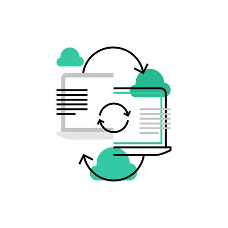 Icône de vecteur moderne de connexion d'ordinateur portable, synchronisation de nuage et partage de données. Concept d'illustration vectorielle de qualité premium. Symbole d'icône de ligne plate. Image de design plat isolé sur fond blanc.