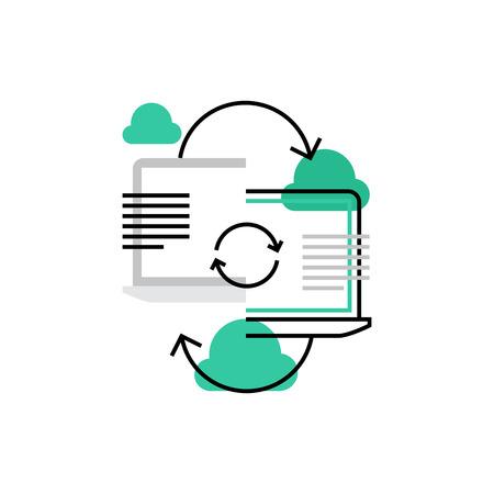 Icono de vector moderno de conexión de portátil, sincronización de nube y uso compartido de datos. Concepto de ilustración de vector de calidad premium. Símbolo de icono de línea plana. Imagen de diseño plano aislado sobre fondo blanco. Vectores