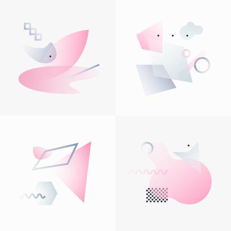 forme: Formes géométriques gradient. Conception abstraite d'affiche. Les objets vectoriels géométriques. Formes platoniques et chiffres. Ensemble unique de Minimaliste Création. Décoration moderne pour le Web, l'impression, l'image de marque, modèles, textures.