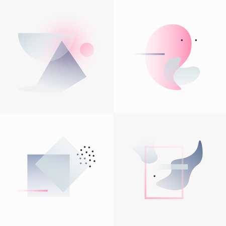 contemporary: Gradient Geometry Forms. Abstract Poster Design. Geometric Vector Objects. Platonic Shapes And Figures. Unique Set Of Minimalist Artwork. Modern Decoration For Web, Print, Branding, Patterns, Textures.