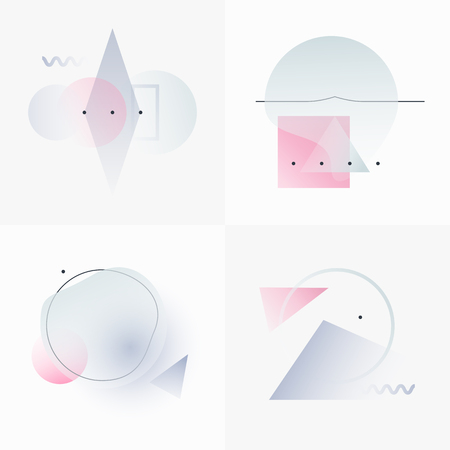 decoration objects: Gradient Geometry Forms. Abstract Poster Design. Geometric Vector Objects. Platonic Shapes And Figures. Unique Set Of Minimalist Artwork. Modern Decoration For Web, Print, Branding, Patterns, Textures.