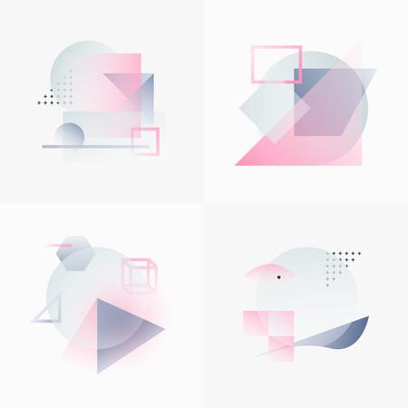 Gradient Geometry Forms. Abstract Poster Design. Geometrische Vector Objects. Platonische vormen en figuren. Unieke set van Minimalistisch Kunstwerk. Moderne inrichting voor het web, print, Branding, patronen, texturen.