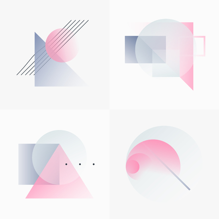 Gradient Geometry Forms. Abstract Poster Design. Geometric Vector Objects. Platonic Shapes And Figures. Unique Set Of Minimalist Artwork. Modern Decoration For Web, Print, Branding, Patterns, Textures. Reklamní fotografie - 70570508