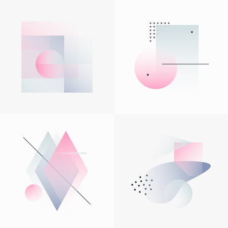 Gradient Geometry Forms. Abstract Poster Design. Geometric Vector Objects. Platonic Shapes And Figures. Unique Set Of Minimalist Artwork. Modern Decoration For Web, Print, Branding, Patterns, Textures. Zdjęcie Seryjne - 70651927