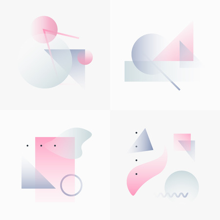 white background: Gradient Geometry Forms. Abstract Poster Design. Geometric Vector Objects. Platonic Shapes And Figures. Unique Set Of Minimalist Artwork. Modern Decoration For Web, Print, Branding, Patterns, Textures.