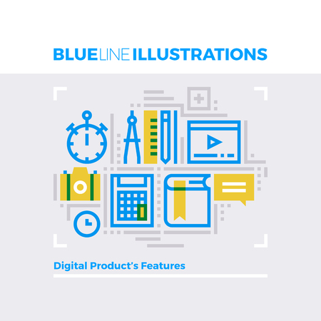 jobs: Blue line illustration concept of digital product features and content management. Premium quality flat line image. Detailed line icon graphic elements with overlay and multiply color forms. Illustration