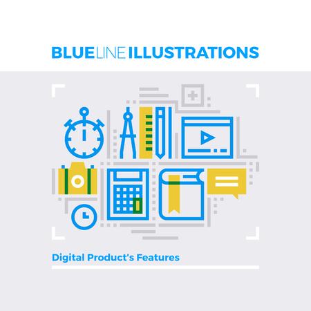 multiplicar: Ejemplo del concepto de la línea azul de las características del producto y la gestión de contenidos digitales. imagen línea plana de primera calidad. línea de icono detallado con elementos gráficos de superposición y se multiplican las formas de color.