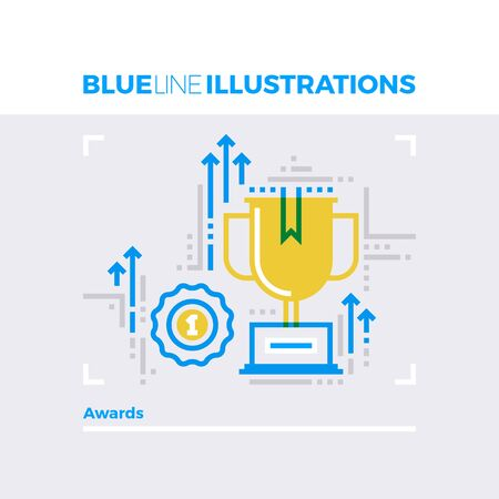 contemporary: Blue line illustration concept of award winning, leader achievements and champion cup. Premium quality flat line image. Detailed line icon graphic elements with overlay and multiply color forms.