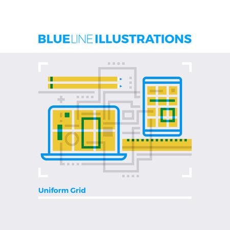 multiplicar: Ejemplo del concepto de la línea azul de la cuadrícula de diseño uniforme, plataforma web para el desarrollo. imagen línea plana de primera calidad. línea de icono detallado con elementos gráficos de superposición y se multiplican las formas de color.