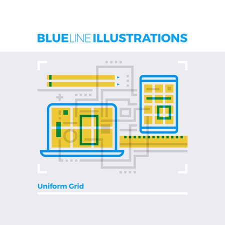 Blue line illustration concept of uniform design grid, web platform for development. Premium quality flat line image. Detailed line icon graphic elements with overlay and multiply color forms. Illustration