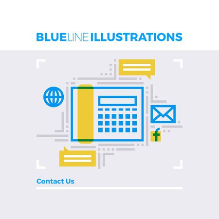 telephone: Blue line illustration concept of contact us information and business communication channels. Premium quality flat line image. Detailed line icon graphic elements with overlay and multiply color forms.