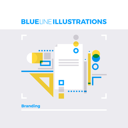 brand identity: Blue line illustration concept of sketching branding idea and corporate document design. Premium quality flat line image. Detailed line icon graphic elements with overlay and multiply color forms. Illustration