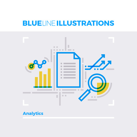 arrow icon: Blue line illustration concept of data analytics report and statistical document. Premium quality flat line image. Detailed line icon graphic elements with overlay and multiply color forms.