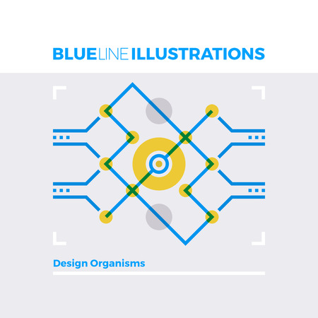 contemporary: Blue line illustration concept of organism design structures and technological processing. Premium quality flat line image. Detailed line icon graphic elements with overlay and multiply color forms.