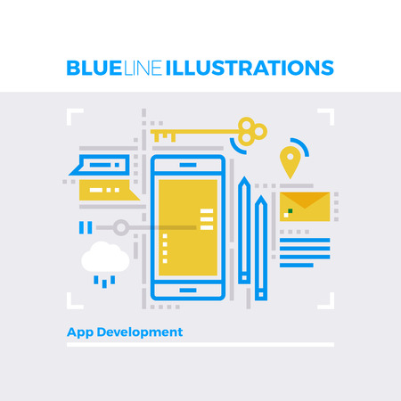web: Blue line illustration concept of mobile platform communication and application development. Premium quality flat line image. Detailed line icon graphic elements with overlay and multiply color forms. Illustration