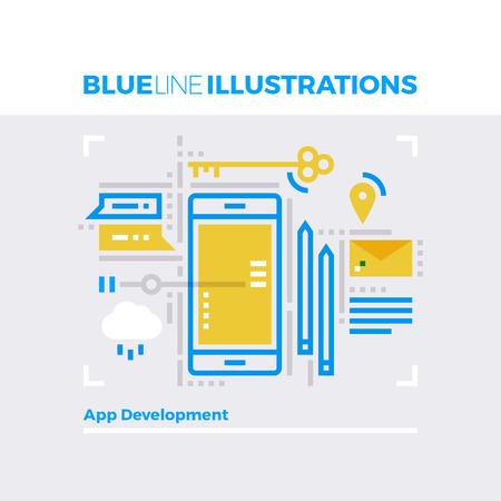 multiplicar: ilustración línea azul concepto de la comunicación móvil y plataforma de desarrollo de aplicaciones. imagen línea plana de primera calidad. línea de icono detallado con elementos gráficos de superposición y se multiplican las formas de color. Vectores