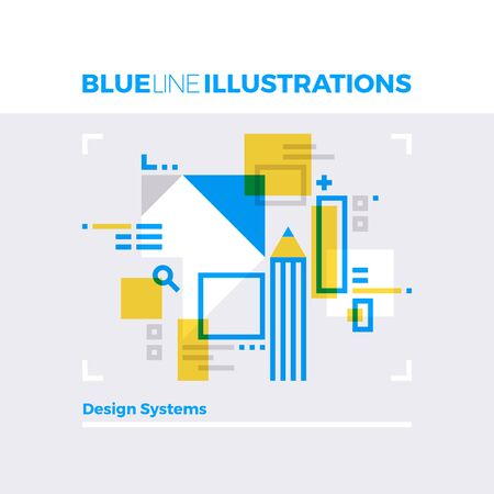 modern: Blue line illustration concept of design systems, art working and media content creation. Premium quality flat line image. Detailed line icon graphic elements with overlay and multiply color forms. Illustration