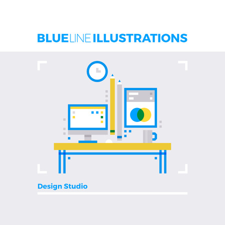 overlay: Blue line illustration concept of design studio, digital artist workplace cabinet interior. Premium quality flat line image. Detailed line icon graphic elements with overlay and multiply color forms. Illustration