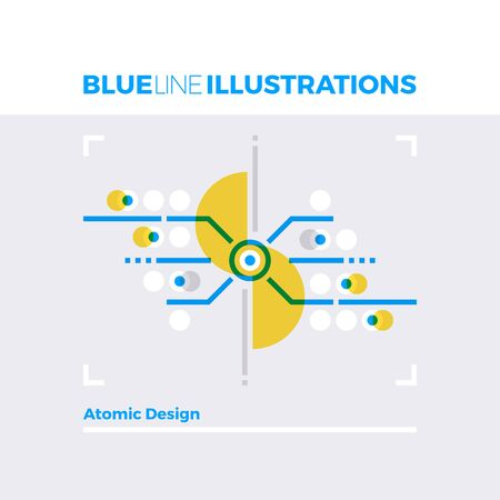 splitting: Blue line illustration concept of atomic design system and crafting effective web components. Premium quality flat line image. Detailed line icon graphic elements with overlay and multiply color forms.