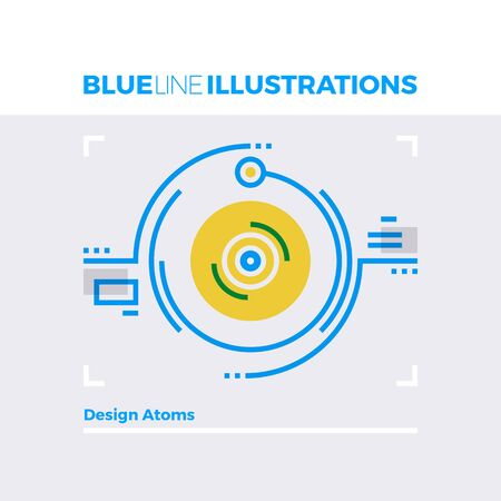 positron: Blue line illustration concept of atomic design and particles collision moment. Premium quality flat line image. Detailed line icon graphic elements with overlay and multiply color forms.