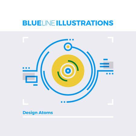 Blauwe lijn illustratie concept van de atomaire ontwerp en deeltjes botsing ogenblik. image premium kwaliteit vlakke lijn. Gedetailleerde lijn icoon grafische elementen met overlay en vermenigvuldig kleur vormen.