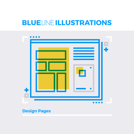 panels: Blue line illustration concept of website design, creative homepage and internet page layout. Premium quality flat line image. Detailed line icon graphic elements with overlay and multiply color forms.