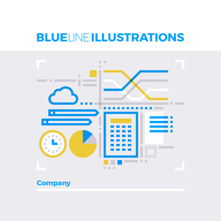 clouds: Blue line illustration concept of company workflow, business statistics and calculation. Premium quality flat line image. Detailed line icon graphic elements with overlay and multiply color forms.