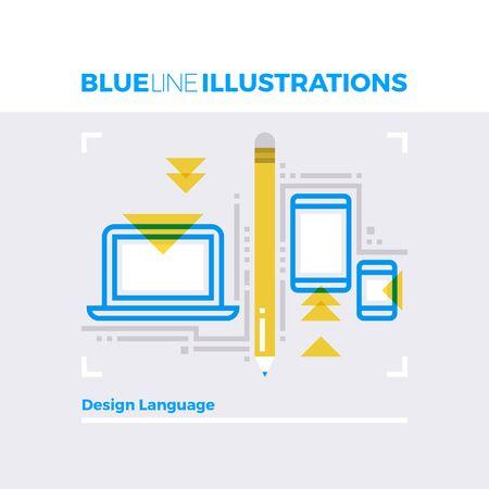 multiplicar: Ejemplo del concepto de la línea azul del lenguaje de diseño para plataformas móviles, la optimización del contenido. imagen línea plana de primera calidad. línea de icono detallado con elementos gráficos de superposición y se multiplican las formas de color.