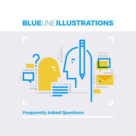 contact: Blue line illustration concept of frequently asking questions, helpline and communication. Premium quality flat line image. Detailed line icon graphic elements with overlay and multiply color forms.
