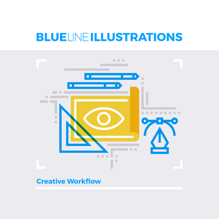 layout: Blue line illustration concept of creative workflow, designer tools and art sketching. Premium quality flat line image. Detailed line icon graphic elements with overlay and multiply color forms.
