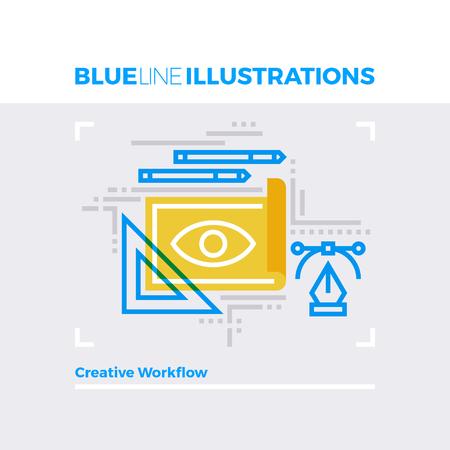multiplicar: ilustración línea azul concepto de flujo de trabajo creativo, herramientas de diseño y dibujo del arte. imagen línea plana de primera calidad. línea de icono detallado con elementos gráficos de superposición y se multiplican las formas de color.