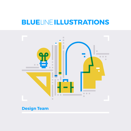 people: Blue line illustration concept of artist team, workshop collaboration and design bureau. Premium quality flat line image. Detailed line icon graphic elements with overlay and multiply color forms. Illustration