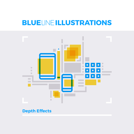 phone: Blue line illustration concept of depth effects, graphic and photo edit soft mobile platform. Premium quality flat line image. Detailed line icon graphic elements with overlay and multiply color forms.