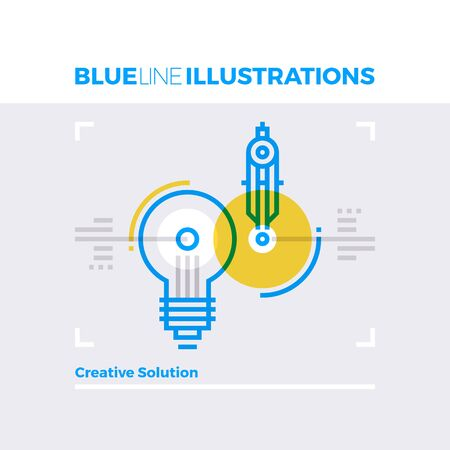 multiplicar: Ejemplo del concepto de la línea azul de la solución creativa, idea de la bombilla y la inspiración de diseño web. imagen línea plana de primera calidad. línea de icono detallado con elementos gráficos de superposición y se multiplican las formas de color. Vectores