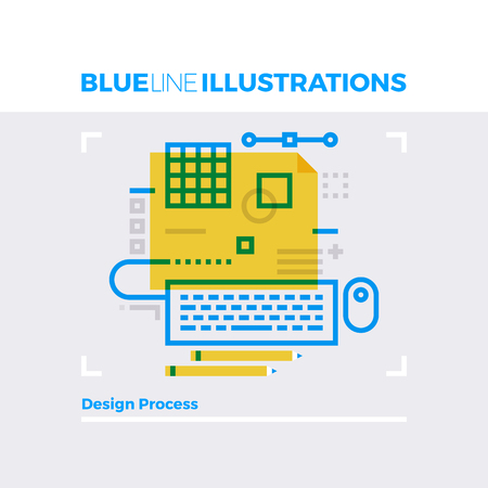 grid: Blue line illustration concept of design process, digital art crafting workflow. Premium quality flat line image. Detailed line icon graphic elements with overlay and multiply color forms. Illustration