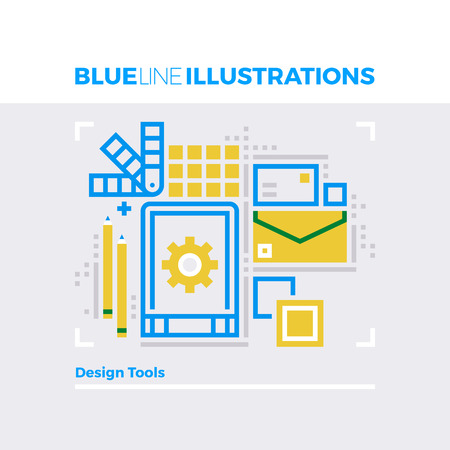 jobs: Blue line illustration concept of designer tools and digital artist workflow routine. Premium quality flat line image. Detailed line icon graphic elements with overlay and multiply color forms. Illustration