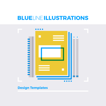 symbol: Blue line illustration concept of sketch book, notebook and design template tools. Premium quality flat line image. Detailed line icon graphic elements with overlay and multiply color forms.