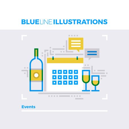 multiplicar: Ejemplo del concepto de la línea azul de la celebración de fechas especiales, fiesta y gestión de eventos. imagen línea plana de primera calidad. línea de icono detallado con elementos gráficos de superposición y se multiplican las formas de color.