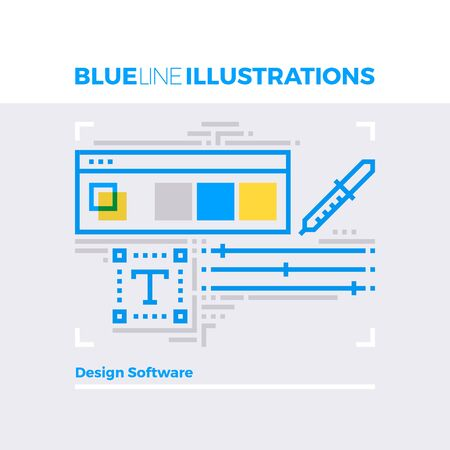 contemporary: Blue line illustration concept of designer software interface with toolbar palette pipette. Premium quality flat line image. Detailed line icon graphic elements with overlay and multiply color forms. Illustration