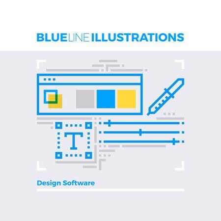 multiplicar: Ejemplo del concepto de la línea azul de la interfaz de software de diseño con pipeta paleta de barra de herramientas. imagen línea plana de primera calidad. línea de icono detallado con elementos gráficos de superposición y se multiplican las formas de color.