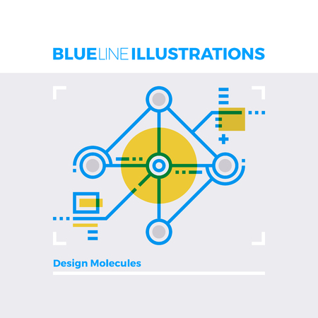 modern: Blue line illustration concept of design molecules, nanotechnology and data science research. Premium quality flat line image. Detailed line icon graphic elements with overlay and multiply color forms.