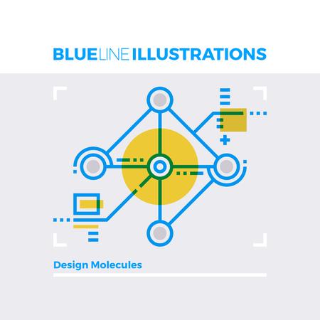 multiplicar: línea azul concepto de ilustración de las moléculas de diseño, la nanotecnología y la investigación en ciencias de datos. imagen línea plana de primera calidad. línea de icono detallado con elementos gráficos de superposición y se multiplican las formas de color.